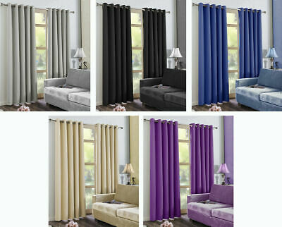 Total Blackout Ring Top Eyelet Pair of Curtains Thermal Insulating navy 45x54