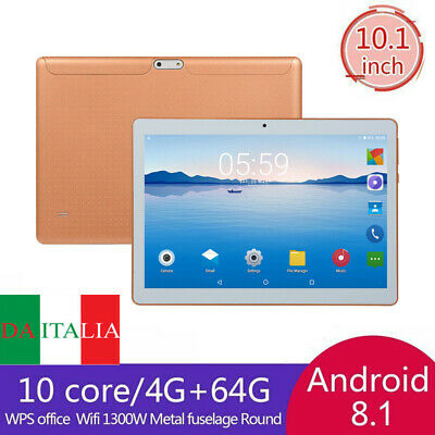 10.1'' Tablet Android 8.1 Bluetooth PC 4+64G ROM 2 SIM GPS Smartphone WIFI Pad