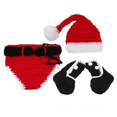 Newborn Baby Gril Christmas Crochet Outfits Photography Costume Photo Props HY
