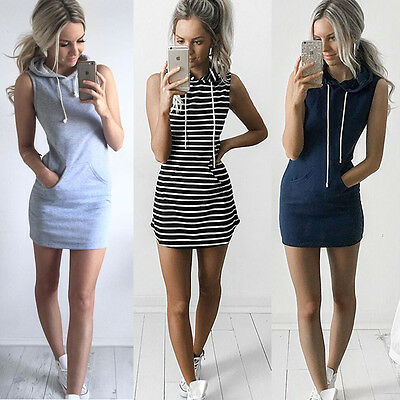 Summer Womens Slim Bodycon Bandage Mini Dress Hoodies Pullover Tops Size 6-14