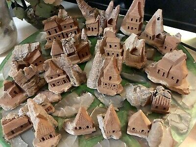 17 Vintage Wood Bark Hand Carved Houses By Fonart Mexico