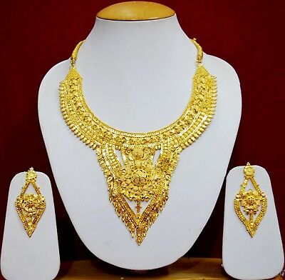 Indian Wedding Traditional Gold Bridal Necklace Earrings