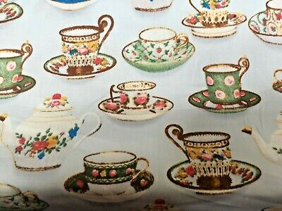 Tea Cups Patterned Cotton Dress Fabric