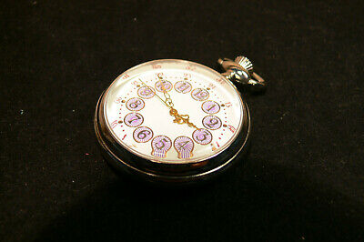 pocket fob watch quartz movement white dial with lilac detail