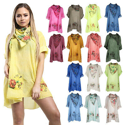 New Ladies Womens Lagenlook Quirky Layering Floral Print Scarf Tunic Top 14-24