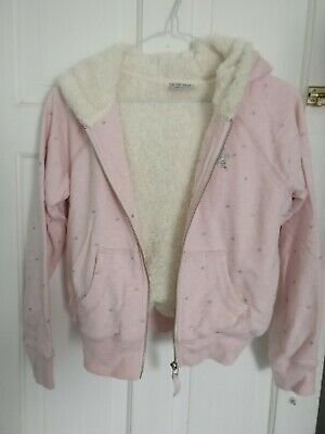 Girls Next Age 13 Pink, Fleecey Lined Girls Hooded Jacket with Silver Sparkle