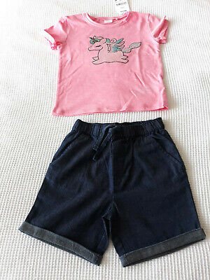Next Girls Pink Sequin Unicorn Top & Navy Shorts Age 2-3 Years BNWT
