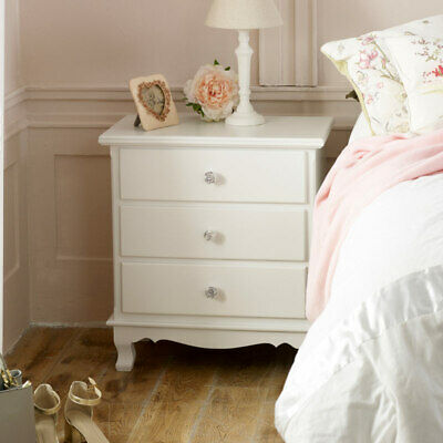 White painted 3 drawer bedside table chest of drawers vintage bedroom furniture