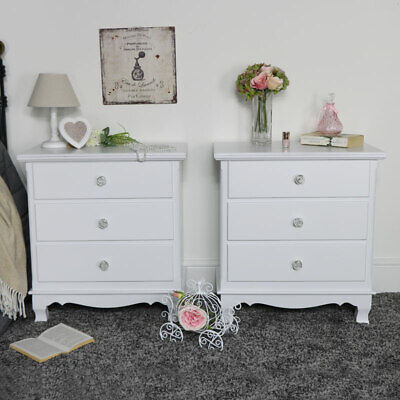 Pair Of Ornate White Wooden Chest Drawers Vintage French