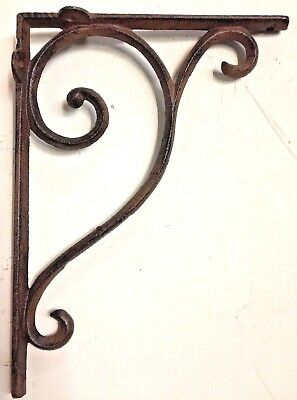 SET OF 2 LARGE RUSTIC  BROWN SCROLL BRACE/BRACKET vintage looking patina finish