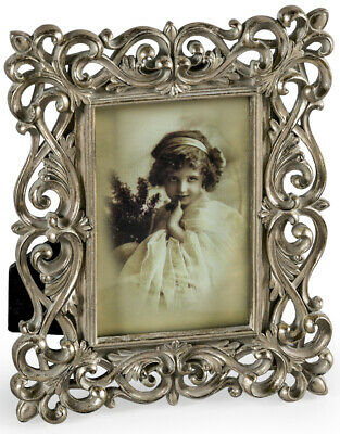 """Ornate Baroque Style Photo Photograph Picture Frame Antique Silver 4"""" x 6"""""""
