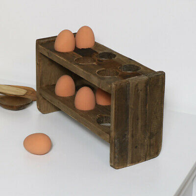 Rustic wooden egg holder country cottage kitchen home decor gift reclaimed pine