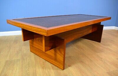 Mid Century Retro Vintage Danish Copper and Rosewood Coffee Table 1960s.