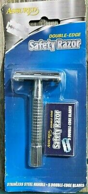 TWO ASSURED Double-Edge Safety Razors with 5 Blades ea FREE