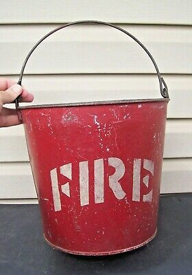 Antique Red Fireman's Fire Fighting Metal Water Bucket Domed Round Bottom Old