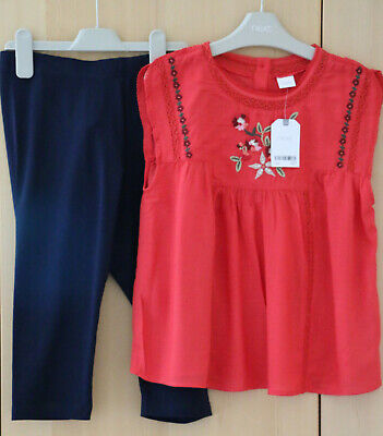 Next Girls Red Embroidered Top & Navy Cropped Leggings Age 12 Years BNWT