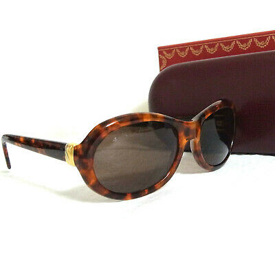 2b10b26c33 Authentic Cartier Trinity Tortoise Brown Sunglasses 53 17 135 in Case Made  Franc