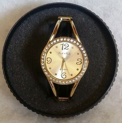 *NOS* Womens PECK & PECK CUFF/BANGLE Watch/MULTI-FACETED CRYSTAL/CRYSTAL ACCENTS