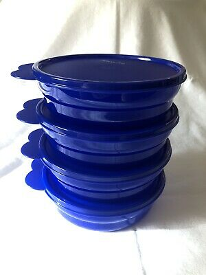 Tupperware Microwave Reheatable Cereal Bowls - Tokyo Blue - NEW