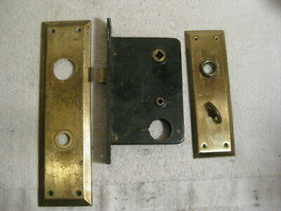 VINTAGE DOOR LOCK  SET And  brass door knob plates