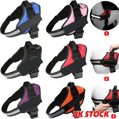 UK Adjustable Non Pull Dog Harness Reflective Soft Padded Puppy Vest Harnesses