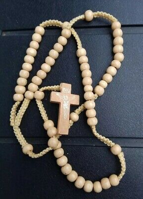 Light Brown Rope Wooden Beads Religious Necklace Rosary With Jesus On Cross
