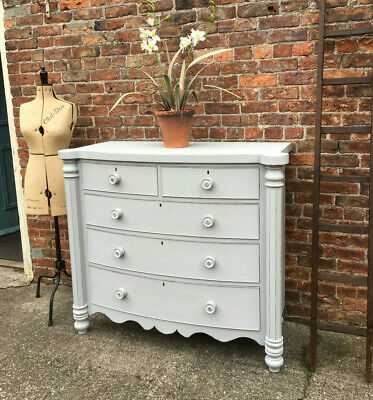 Large Antique Vintage Victorian Mahogany Grey Painted Bow Front Chest Of Drawers
