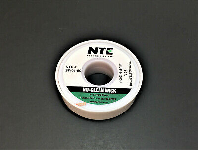 NTE SW01-50 #3 No-Clean Solder Wick - Green - 50' - 1.9mm - MADE IN THE USA!