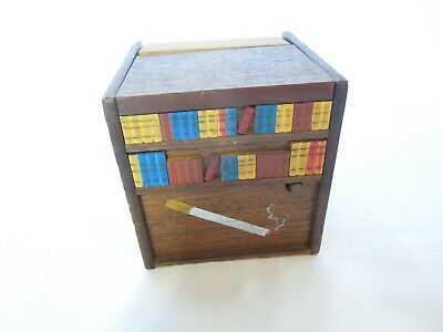 Vintage Wood Mechanical Cigarette Dispenser w/ Music Box Dog in Bookcase Design
