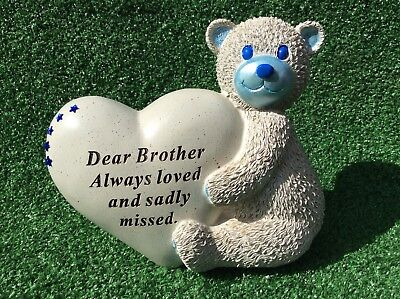 Brother Teddy Bear With Heart Ornament Grave Memorial Cemetery Remembrance Gift