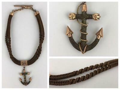 Antique Victorian Mourning Human Hair Watch Fob Nautical Anchor Charm Chain 1880