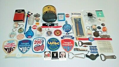 Vintage JUNK DRAWER LOT 50 + items: Pins, Ephemera, Watch, Patches, Openers ++.