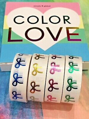 NIB Simply Gilded COLOR LOVE rainbow Washi Tapes 4 15 mm rolls NEW sold out HTF!