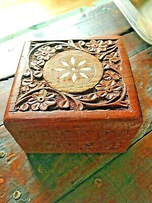 Vintage Carved Wood Box Made In India-2958