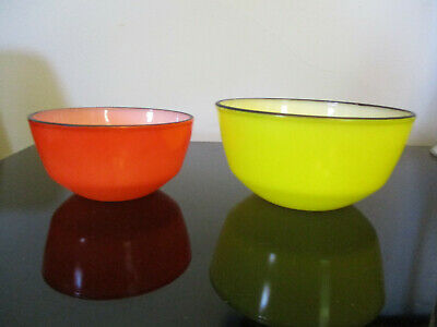 Pair Vintage Fire King Anchor Hocking Red Yellow Nesting Mixing Bowls Black Trim