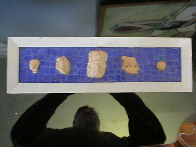 Vintage Pre-Combian Style Artifacts Pottery Faces Shards Blue Mosaic Glass Frame