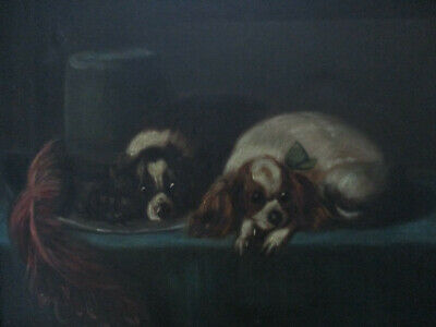 Antique 19th Century Pair Cavalier King Charles Spaniel Dog Oil Painting Signed
