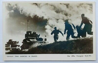 WW1 British Cavalry Tank Exercises in France Postcard War Office Real Photo