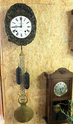Antique Big Clock Comtoise 2 Weight Chime clock *Repeat the sound*