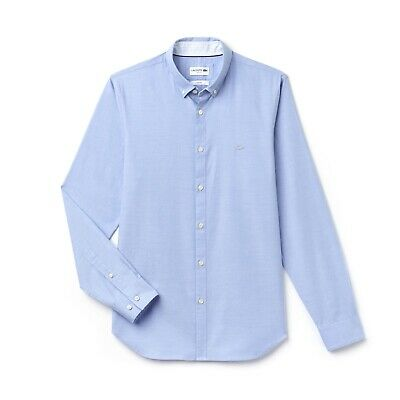 Lacoste Long Sleeve Slim Fit Cotton Pinpoint Blue CH9627-00 Shirt RRP £100