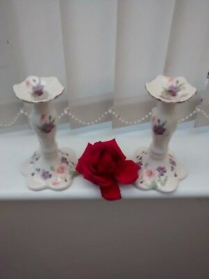 Pair of Fine Ceramic Toff floral Candle Stick holders