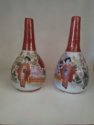 Set Of 2 Antique Vintage Japanese Vase, Signed Kutani, Oriental, Hand Painted.