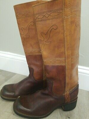 d1353881f6859 VINTAGE ACME DINGO Brown Leather Tall Cowboy Western Riding Boots 9 M