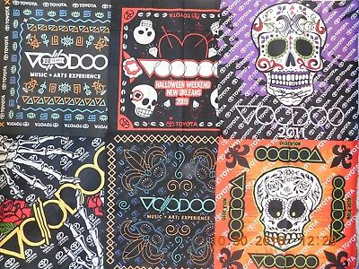 "New Orleans ""Voodoo"" Festival Memorabilia 8 Diff Years Headbands + 2018 T-Shirt"