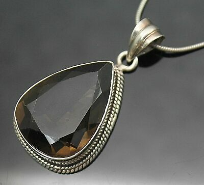 """Adorable Vintage Pear Shaped Faux Smoky Topaz Sterling Silver 16"""" Necklace"""