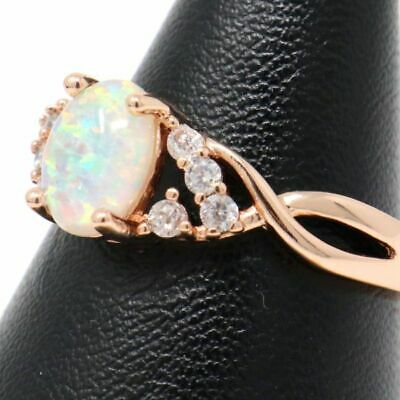 Unique Vintage Oval Green Opal Ring Women Nickel Free Jewelry Gift 14K Rose Gold