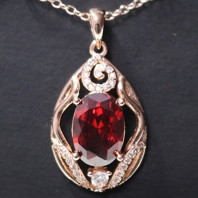 Sparkling 4 Ct Oval Red Ruby Pendant Necklace Women Wedding Engagement Gift 18""
