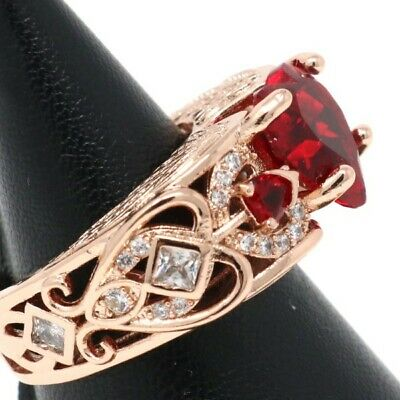 Gorgeous 2 Ct Heart Ruby Engagement Ring Women Birthday Jewelry Size 5 6 7 8 9