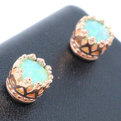 Hand Carved Green Opal Stud Earring Women Jewelry Gift 14K Rose Gold Plated