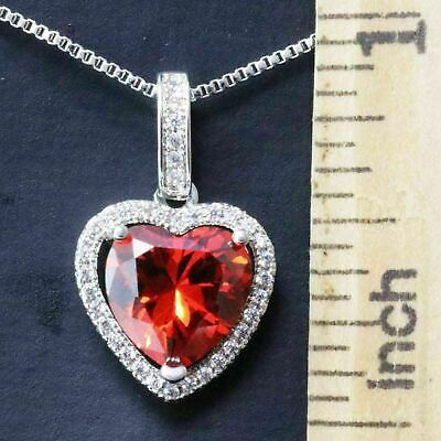 Sparkling Red Ruby Necklace Heart Pendant Women Jewelry 14K White Gold Plated